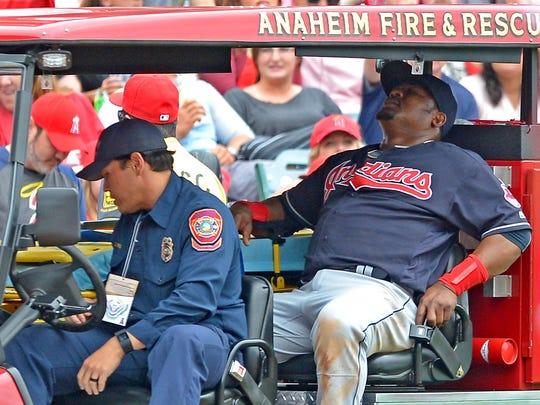 Cleveland Indians third baseman Juan Uribe took a 106-mph