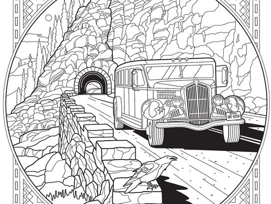"A page from the ""Glacier National Park Adult Coloring"