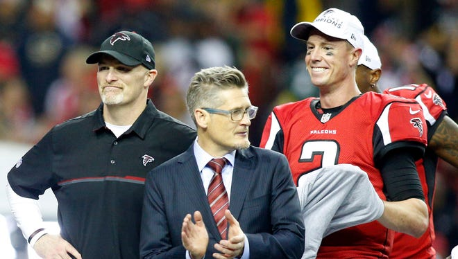 Falcons GM Thomas Dimitroff has formed a good relationship with coach Dan Quinn, left.