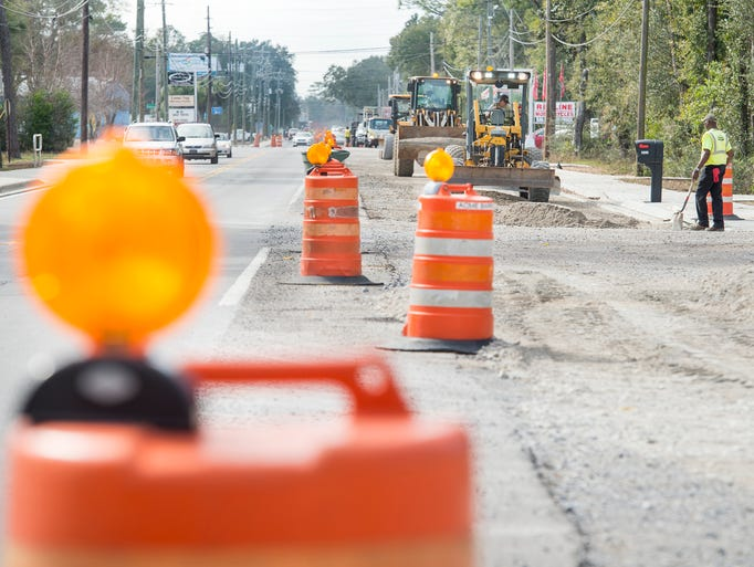 Construction continues along East Olive Road in Pensacola