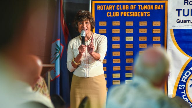 Public Auditor Doris Flores Brooks discusses several solutions in reducing the Government of Guam budget as she addresses members of the Rotary Club of Tumon Bay during their weekly luncheon at the Pacific Star Resort & Spa in Tumon on Tuesday, Feb. 13, 2018.
