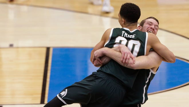 Matt Costello and Travis Trice will be honorary captains at Saturday's Michigan State spring football game.