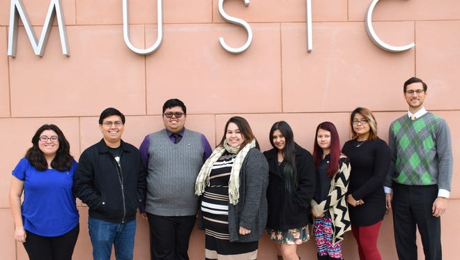 Del Mar College students selected for the the 2016-2017 Texas Two-Year College All-State Choir are Angel Hernandez, soprano (from left); Quentin Zundt, bass; Edward Ramirez, tenor; Andrea Tovar, soprano; Bianca Sanchez, soprano; Dona Michael, alto; Casper Silva, soprano. At right is Dr. Gregory Graf, director of choral activities at Del Mar College.