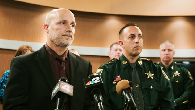 """The safety and security of our students is the highest priority,"" said Lee County Schools Superintendent Dr. Greg Adkins, left, on Thursday in a statement given at the School District of Lee County in Fort Myers. Undersheriff Carmine Marceno of the Lee County Sheriff's Office, right, echoed Adkins' pledge. The statement was given in response to the shooting Wednesday at Stoneman High School in Parkland, Florida."