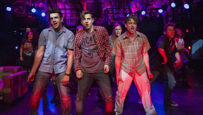 """(From left) Matthew Lee, Spencer Curnutt and Lincoln Slentz star in Phoenix Theatre's production of """"American Idiot,"""" playing through July 5."""