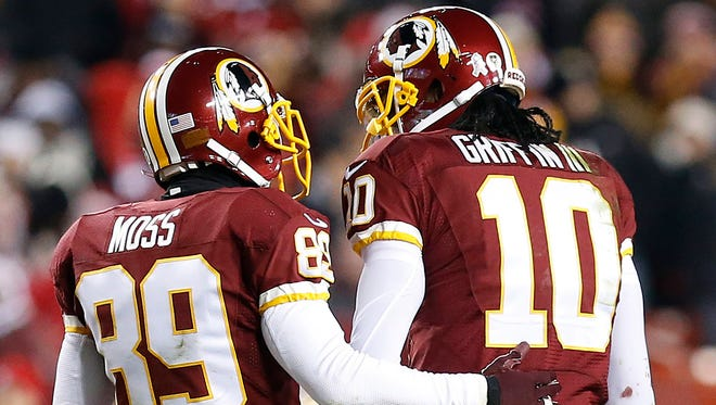 WR Santana Moss (89) is the Redskins' sage veteran while QB Robert Griffin III is the franchise face who may not be quite as media savvy.