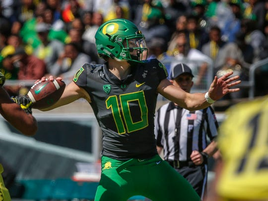 Oregon quarterback Justin Herbert during the Ducks'