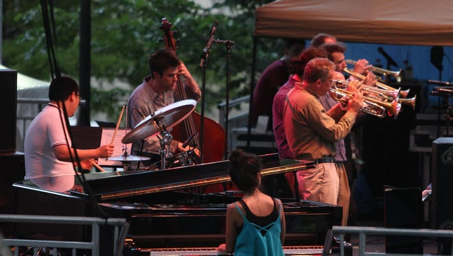 The Clifford Brown Trumpet Consortium plays on the opening night of the Clifford Brown Jazz Festival in Wilmington's Rodney Square Tuesday. The free performances run through Saturday.