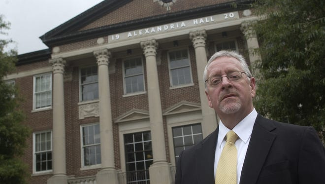 Joe Aguillard, former president of Louisiana College in Pineville, filed a petition for damages against the school, its current president and others in September. In this file photo from 2008 he stands in front of Alexandria Hall on campus.