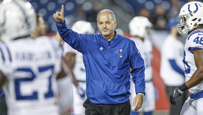 Indianapolis Colts head coach Chuck Pagano signals to his team just before kickoff against the Tennessee Titans at Nissan Field in Nashville, Tenn., on Oct. 16, 2017.