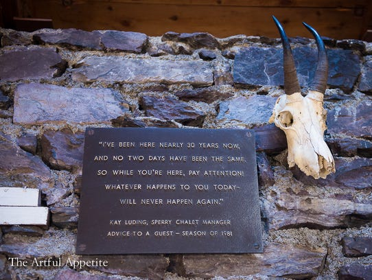 A plaque that hung on the wall outside Sperry Chalet