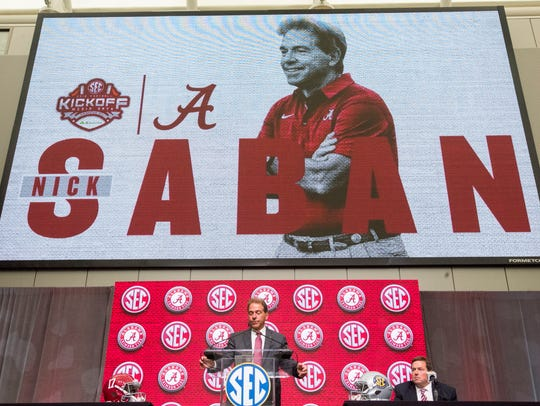 Alabama head coach Nick Saban talks to the press during