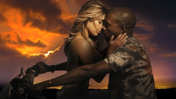 Kim Kardashian, left, and Kanye West in West's new music video 'Bound.'