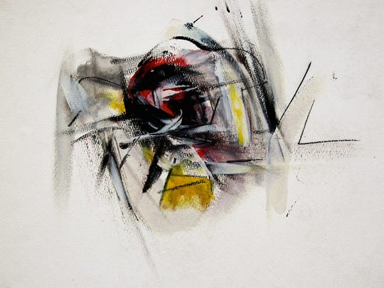"""""""Sketch 1: Blacks"""" is one of many sketches that probably emerged from Ray Spillenger's time at Black Mountain College in the summer of 1948. These early works show him experimenting with form, color, movement and abstraction."""