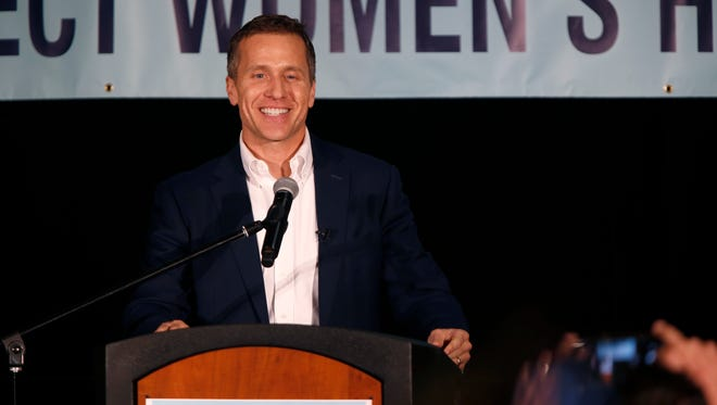 Missouri Gov. Eric Greitens, shown here speaking at a June 9 rally in Springfield, is in Washington, D.C. to meet with President Trump.