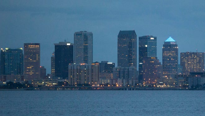 The city skyline of downtown Tampa can be seen Wednesday, September 28, 2016.