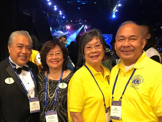 Lion Danny Cruz, second from left, along with more than 700 District Governor Elects from around the world, was sworn in to the position of District Governor on July 3, 2018 during the Lions Clubs International Convention in Las Vegas. Cruz is District Governor for Lions Club International District 204. Pictured form left: Past district governor Daniel Yang, (Gadao Lions Club), Cruz, Clare Cruz, Marietta Camacho and Pete Babauta, President, (Guam Sunshine Lions Club). Not pictured: Sunshine Lions Jill Pangelinan, Julie Cruz, Dot Leon Guerrero, Violet Camacho, Sera Taitano, and Guam Tano-Ta Branch Club member Dr. John Taitano.