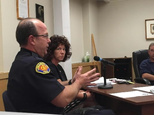 Lebanon Mayor Sherry Capello listens as police Chief Daniel Wright talks to City Council about the city's heroin problem.