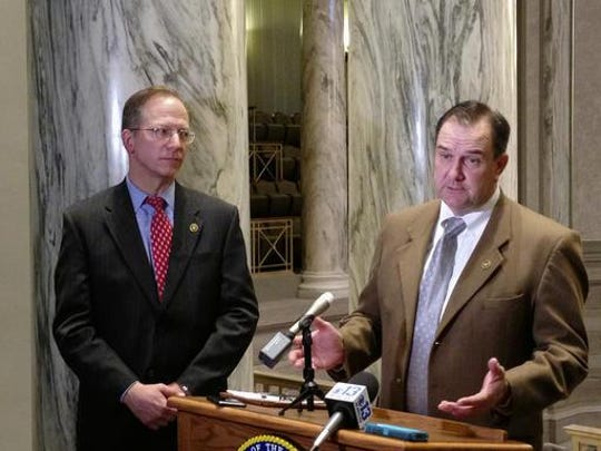 Missouri Senate Majority Leader Mike Kehoe talks with