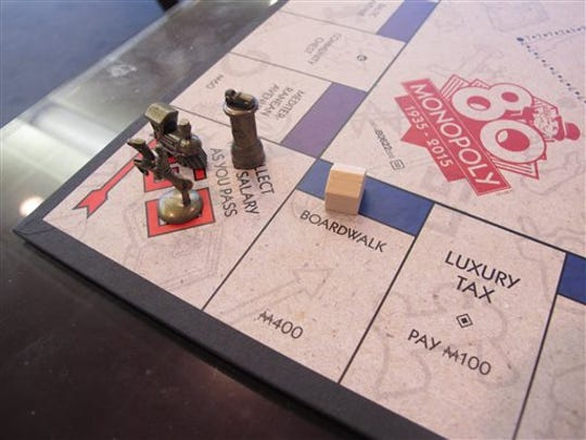 This March 11 photo shows a Monopoly board in Atlantic