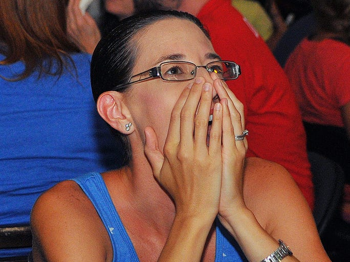 Erin Cobb, of Satellite Beach, reacts as Germany scores a goal vs. the United States during the Thursday, June 26, 2014 matchup. Many U.S. soccer fans packed Coasters Pub in Indian Harbour Beach to watch the game.