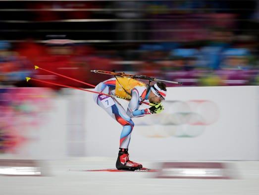 Tomas Krupcik (CZE) competes in the men's 4x7.5km relay.