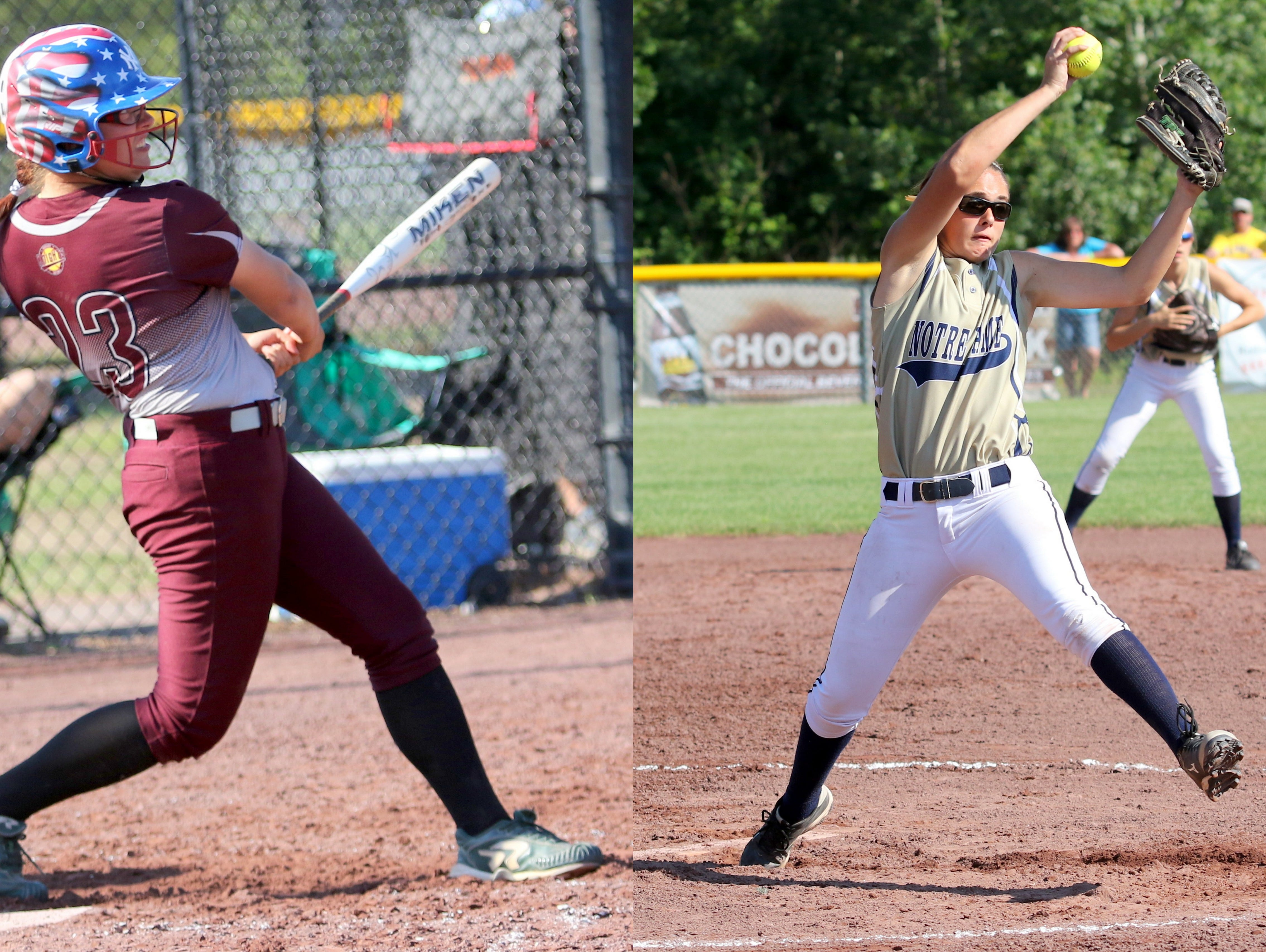 Addison's Kiwi Burrell, left, was named Class C Player of the Year and Elmira Notre Dame's Alivia Clark, right, earned first-team all-state honors for the second time.