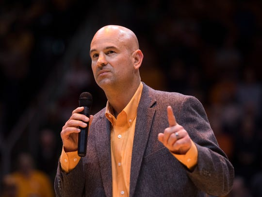 Tennessee football head coach Jeremy Pruitt walks on