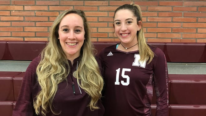 Nutley volleyball coach Jenna Rubino and team captain Emily Hewett.