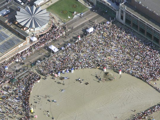 """Aerial photo of the """"Today"""" show broadcast from Convention Hall featuring Bruce Springsteen and the E Street Band."""