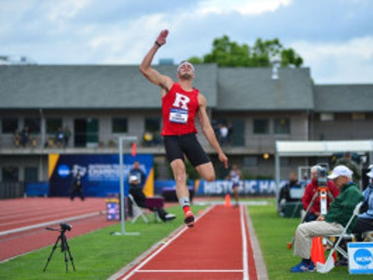 Rutgers redshirt junior Corey Crawford earned his second First Team All-America honor of the year after taking seventh in the long jump Thursday at the NCAA Outdoor Track & Field Championships in Eugene, Ore. (Courtesy of Rutgers athletic communications)