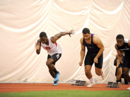 In addition to running sprints for the Rutgers track and field team, Emeka Eze is a long jumper who in the spring finished second at the IC4A Championships at 21st at the NCAA Regionals. (Courtesy of Rutgers athletics communications)