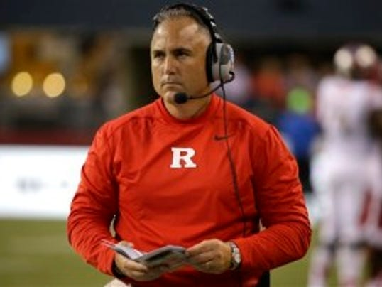 Rutgers coach Kyle Flood was asked Sunday why he does not refer to Penn State by the school's name. (AP)