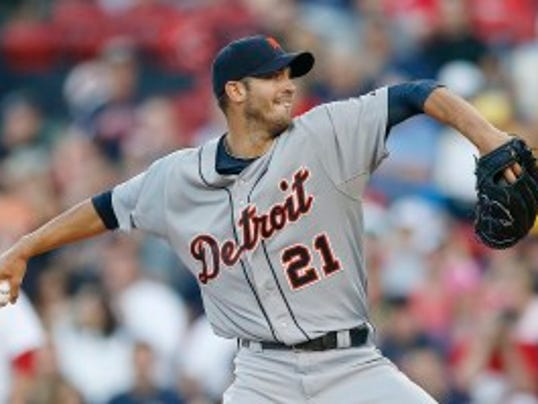 Tigers righty Rick Porcello pitches in the first inning against the Red Sox on Saturday. (AP Photo/Michael Dwyer)