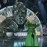 """This Nov. 30, 2015, image released by NBC shows Queen Latifah as The Wiz during a dress rehearsal of """"The Wiz Live!' in New York."""