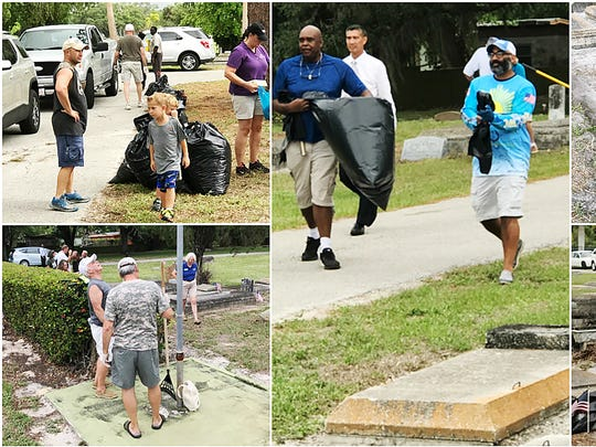 Nearly 100 people from throughout Southwest Florida volunteered recently to clean up the Oakridge and Woodlawn sections of the Fort Myers Cemetery.