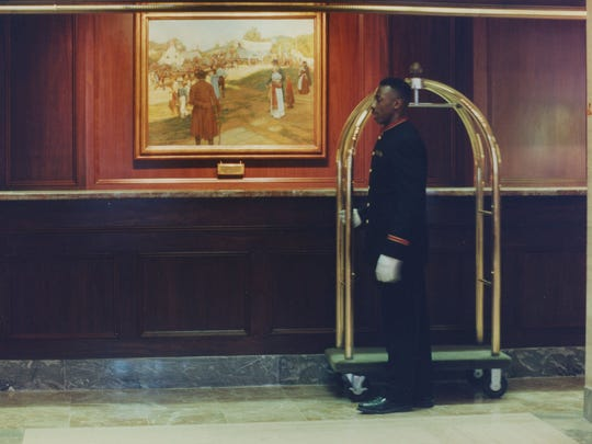 "The Howard Pyle painting ""Conestoga Powder"" that hung behind the lobby desk was not included in the donations."