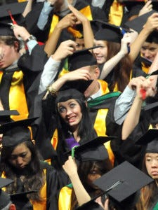 Savannah College of Art and Design graduates turn their tassels during the Saturday, June 2, 2012 commencement ceremony at the Savannah Civic Center in Savannah, Ga. as 1,741 graduated from the SCAD Savannah campus.