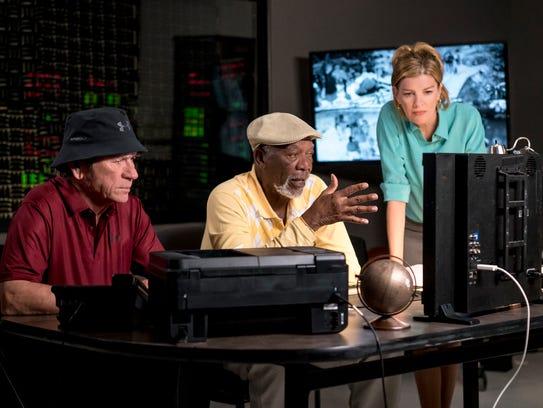 (l-r.) Tommy Lee Jones stars as Leo, Morgan Freeman