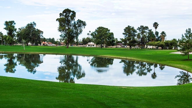 This is a pond on the 17th hole at the new Grand Canyon University Golf Course,  5902 W. Indian School Road, in Phoenix, Wednesday, November 25, 2015.