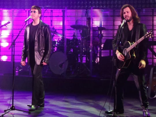 From left, Jack Leftley (Maurice), Paul Lines (Robin) and Matt Baldoni (Barry Gibb) perform as part of the Australian Bee Gees show.