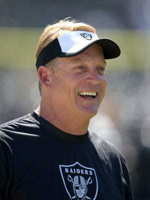 Oakland Raiders coach Jack Del Rio reacts during the game against the Baltimore Ravens as  at O.co Coliseum.