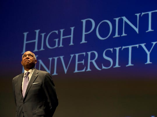 Tubby Smith is shown during an introductory press conference at High Point University in High Point, N.C., Tuesday, March 27, 2018. Smith is the new NCAA college basketball head coach at the school. (Andrew Krech/News & Record via AP)