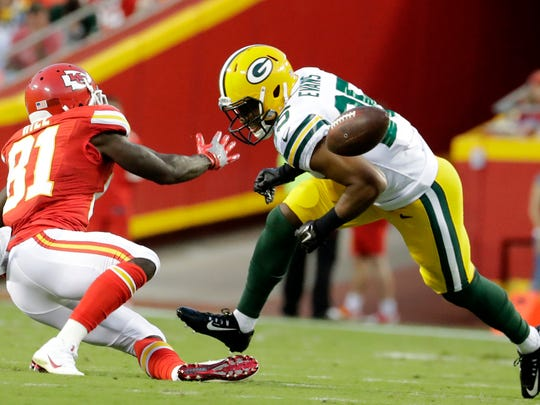 Green Bay Packers safety Marwin Evans (25) breaks up a pass intended for Kansas City Chiefs wide receiver Tyreek Hill (81) during the first half of an NFL preseason football game Sept. 1. Evans was a surprise in the preseason and wound up making the team despite going undrafted out of Utah State.
