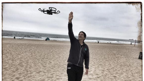 Jefferson Graham commands the DJI Spark drone with