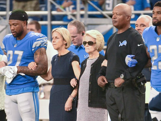 Lions Falcons, jim caldwell martha ford, anthem protest