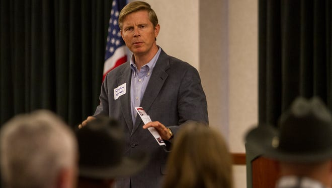 Gubernatorial candidate Jonathan Johnson speaks at the Legacy of Freedom conference at the Western Freedom Festival in Cedar City, Friday, Oct. 23, 2015.