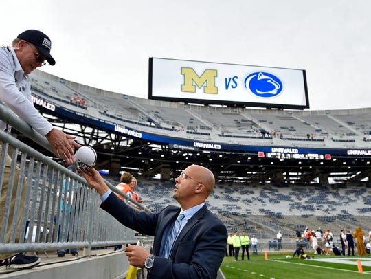 Penn State head football coach James Franklin returns