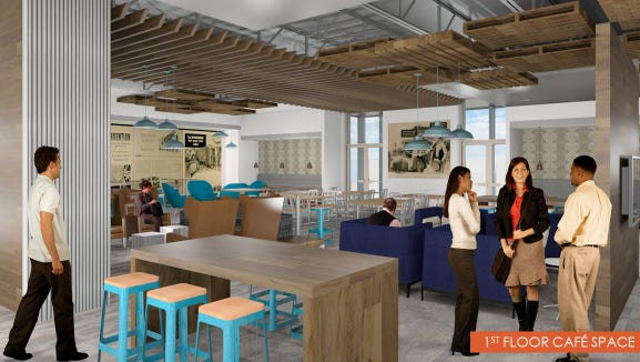 A rendering of a cafe within the new Johnson Controls office building in Hopewell Twp.