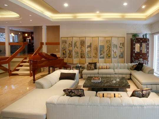 Various views of the living and dining areas of this